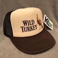 Wild Turkey Whiskey Trucker Hat Vintage 80's Snapback Cap Bourbon Tan Brown