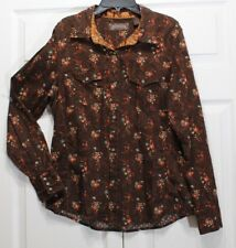 North River Country Size Medium Women's Snap Down Brown Shirt Long Sleeve Top