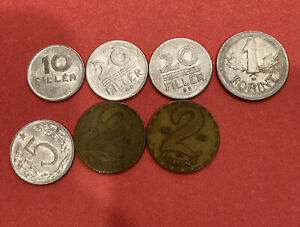 Hungary (Magyar) 7 coin lot 1, 2 , 5, 10, 20 Forint/ Filler coins 1971 and up