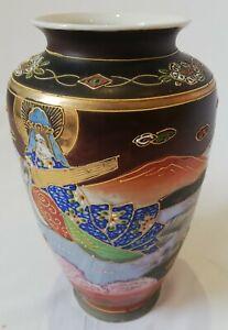 VGC Pu TAI HO SHANG  Japan Rare Vintage Handpainted Flower Decorative Vase