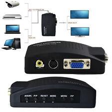 TV AV Composite S-Video RCA In to PC VGA Video Converter Box Adapter + 3 Cbale