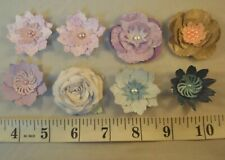 8 x Mixed Paper Flower Embellishments Card Making Toppers Scrapbooking Crafts