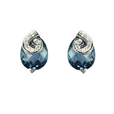9ct White Gold Pear Cut London Blue Topaz & Diamond Swirl Stud Earrings RRP £159