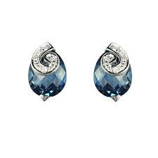 9ct White Gold Pear Cut London Blue Topaz & Diamond Swirl Stud Earrings RRP £159