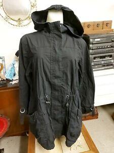 Black Parka Style Coat by E-vie Utility Size 14