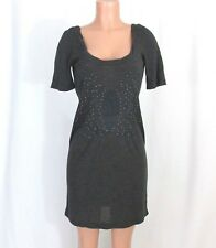 Free People JR Medium Charcoal Gray Dress Embroidery Cut Out Back Bronze Studs