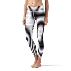 Reebok Women`s Striped 7/8 Leggings White/Black 2XS XS S M
