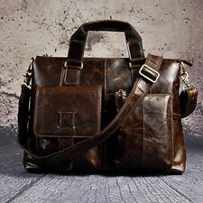 Men's Vintage Genuine Leather Handbag Business Travel Laptop Tote Shoulder Bag