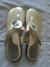 NO RESERVE! ME TOO GOLD SANDALS WITH SILVER KNOT CROSS ADORNMENT - SZ 8M