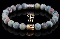Afrik. Türkis Armband Bracelet Perlenarmband Buddhakopf gold 8mm