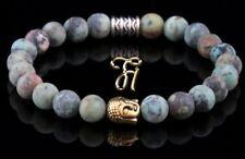 Afrik. Turquoise Bracelet de Perles Tête Bouddha or 8mm