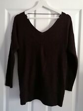 TOPSHOP brown long sleeve jumper with twisted back detail - size 8