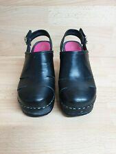 Hasbeens Swedish Black Leather Clog Slingback Platform Sandals Shoes 38 / UK 5