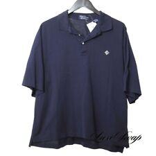 Ralph Lauren Golf Collection Made Italy Navy Sateen Deco Monogram Polo Shirt L