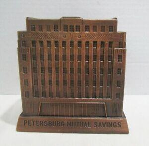 PETERSBURG MUTUAL SAVINGS VIRGINIA VINTAGE BANTHRICO FIGURAL METAL BUILDING BANK