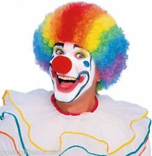 Clown Wig Multi Color Curly Afro Rainbow Striped Adult Costume Red Blue Orange
