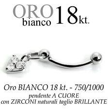 Piercing ombelico belly ORO BIANCO 18kt.pendente CUORE zirconi taglio BRILLANTE