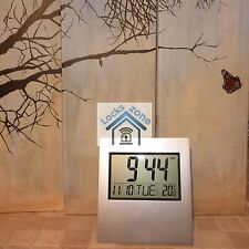 20 Large Digital LCD Clock Silver Alarm Date Temperature Office Home Desk, wall