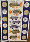 Vintage Cotton Almedahls Swedish Tea Towel-7 Colorful Fish W/Lemon-Purples