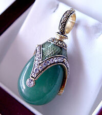 SALE ! GENUINE JADE STERLING SILVER and 24K RUSSIAN EASTER EGG PENDANT