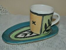 GABRIELLE SCHAFFNER Ceramics Set ESPRESSO CUP+SAUCER HAND MADE PAINT OOAK #1