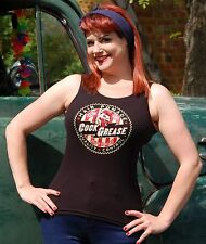 COCK GREASE XX Pomade LADIES Black Tank Top Rockabilly Burlesque Pin Up