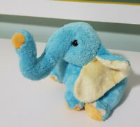 TY JIMBO BLUE ELEPHANT BEANIE 2003 14CM YELLOW EARS