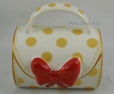 Disney Store Exclusive Ceramic Minnie Mouse Signature Purse 3D Bow Polka Dot Mug