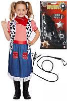 Cowgirl Girls Kids Children Cowboy Rodeo Fancy Dress Costume Outfit Opt Gun Whip