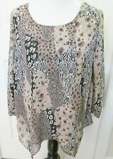 STYLE & CO SIZE 0X WOMEN'S TOP BLOUSE SHADES OF BROWN 3/4 SLV UNEVEN HEM