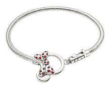 """Chamilia 0038 authentic 925 Disney Mickey & Minnie icon charm bracelet 7.5"""" NWOT"""
