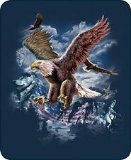 Queen Eagle Fly USA Patriotic American US Flag Mink Faux Fur Blanket Super Plush