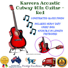 40in Karrera Acoustic Cutaway Guitar Bag Strings Picks Winder Strap Red