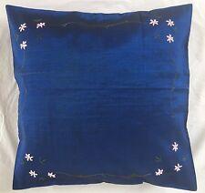 Pair of Luxurious 'FLORAL - Dark Blue' Cushion Covers, 100% Silk