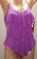 *NEW Magicsuit by Miraclesuit Rita Orchid Purple Tiered Tankini Top size 10 #FM3