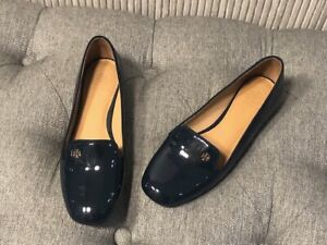 Authentic Tory Burch SAMANTHA SMOKING SLIPPER LOAFER Patent Leather Navy Sz 6.5