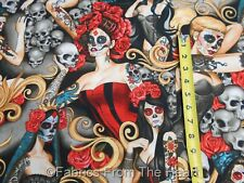 df4207183 Guaranteed 3 day delivery · Las Elegantes Pin Up Girls Skulls w Red Roses  Tattoos Bright BY YARDS AH Fabric