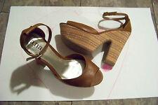womens a.n.a. jackie cognac super chunk stripe heels shoes size 8 1/2