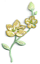 Flowers & Buds W/Beads - Embroidered Iron On Applique Patch - Embellishment