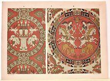 Stampa antica DECORAZIONI TESSUTI STOFFE Tav 3 arceri 1883 Old antique print