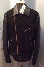 "New ALEXANDER McQUEEN McQ Leather & Suede Biker Jacket Small 36"" Asymetric Zip"