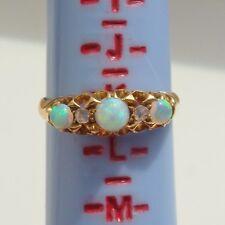 Antico Periodo edoardiano 18 KT Oro Opale & Anello Di Diamanti c1904; misura UK 'K 1/2'