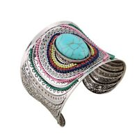 Bohemian Wide Turquoise Beads Jewelry Silver Open Cuff Bangle Bracelet Wristband
