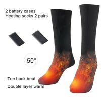 NE_ AG_ Battery Heated Unisex Electric Heating Long Socks Winter Feet Warmer Mys