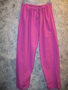 Women S scrubs pants nurse dental uniform elastic waist side leg pockets pink