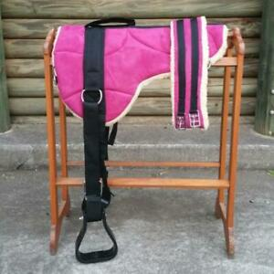 Pink Microsuede Padded Bareback Pad with Girth and detachable stirrups