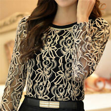 Fashion Elegant Women Blouse Autumn Female Shirt Long Sleeve Lace Chiffon Topata Black L