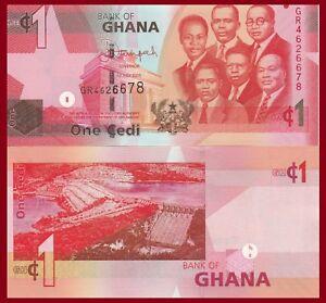Ghana P37g?, 1 Cedi, 6 of country's leaders / Akosombo Dam $4 CV  UV image, UNC