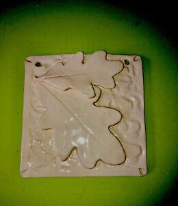 Handmade Decor Ceramic Tile Layered Leaves White/White Arts & Crafts Unique NC