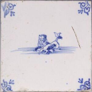 Nice Dutch Delft Blue tile, sea creature, lion, 18th century